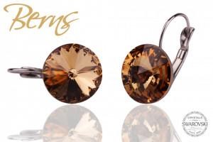 Cercei, cristale Swarovski, maro, diametru 14mm