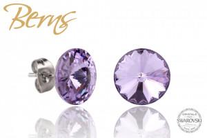 Cercei, cristale Swarovski, mov, diametru 10mm
