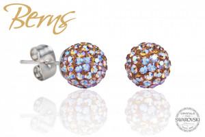 Cercei, cristale Swarovski, multicolor-reflexii, forma rotunda, 8mm
