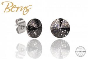 Cercei, cristale Swarovski, negru, cu model, diametru 8mm
