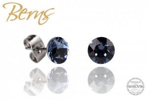 Cercei, cristale Swarovski, negru, diametru 6mm