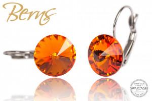 Cercei, cristale Swarovski, oranj, diametru 12mm