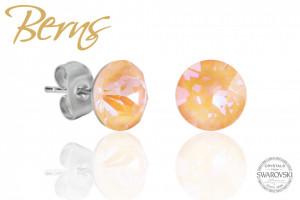 Cercei, cristale Swarovski, peach, diametru 8mm