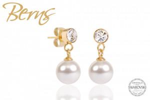 Cercei, perla + cristale Swarovski, alb/auriu, 8mm