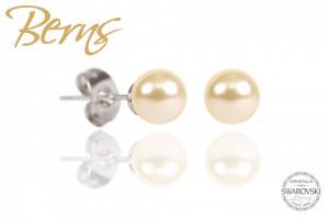 Cercei, perle Swarovski, crem, diametru, 8 mm