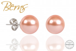 Cercei, perle Swarovski, rosegold, 10mm