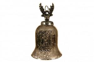 Clopot de sticla, ren, nuanta gold antichizat, 14.5 cm