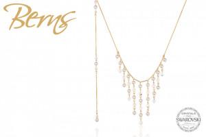 Colier auriu din otel inoxidabil, suflat cu aur 14k, cu perle Swarovski albe