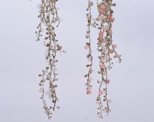 Creanga artificiala, salcie, margele roz/transparent, sclipici, 120 cm