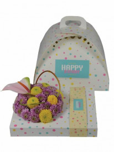 Cutie cadou pentru aranjament floral, model Happy Birthday