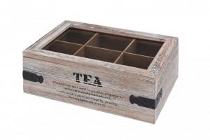 Cutie de ceai cu capac lemn si margine metalica, 6 compartimente