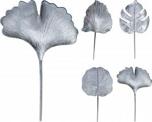 Decoratiune de perete, frunza argintie, 24x48 cm