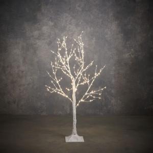 Decoratiune mesteacan artificial, alb, 300led, timer, 120x80cm