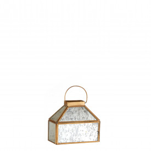 Felinar sticla, margine metalica aurie, antic, Balero 16x8x15 cm