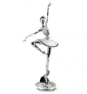 Figurina balerina, alb/argintiu, inaltime 36 cm