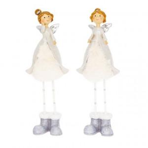 Figurina ingeras, alb/gri, 6.5x5x19 cm