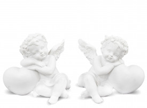 Figurina ingeras cu inimioara, alb, 7x7.5x6 cm
