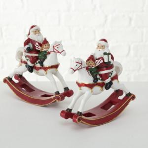 Figurina Santa/copii pe calut-balansoar, 20 cm inaltime