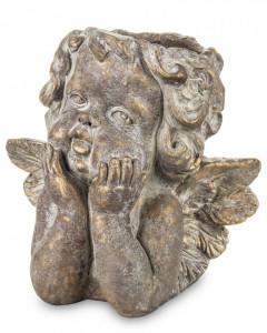 Ghiveci de piatra, ingeras, bronz, 24x27x18 cm