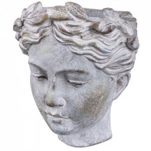 Ghiveci de piatra, pentru perete, forma cap femeie gri, 19x17x13 cm