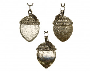 Glob de sticla/metal, ghinda silver, 10.5 cm
