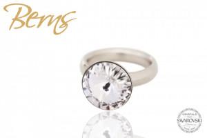 Inel otel inoxidabil, cristal Swarovski, argintiu, diametru 16.5 mm