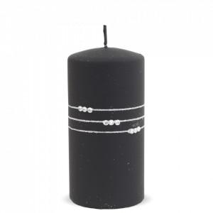 Lumanare cu pietre, negru mat, 14x7 cm
