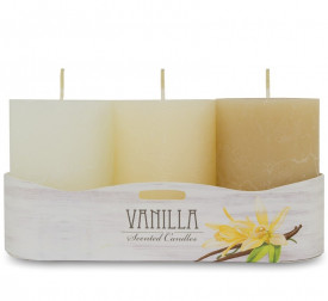 Lumanare parfumata, aroma vanilie, 9x6 cm, 3 nuante