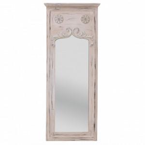 Oglinda perete cadru lemn, crem antichizat, 50x123 cm