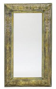 Oglinda perete cadru metalic, auriu antichizat, 112x64x4 cm