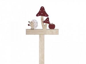 Ornament bat lemn, arici+ciuperca, 33x10 cm
