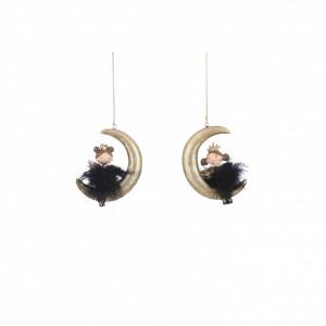 Ornament cu agatatoare, fetita/luna, negru/auriu, 6x2x9cm
