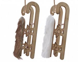 Ornament cu agatatoare, sanie cu blana, 12 cm