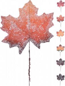 Ornament, frunza cu sclipici, 24x26 cm