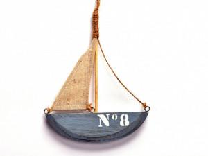 Ornament lemn barca, cu agatatoare