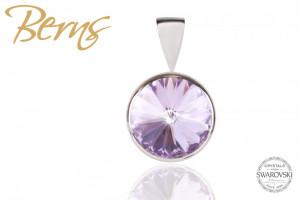 Pandantiv, cristal Swarovski, mov, diametru 10 mm