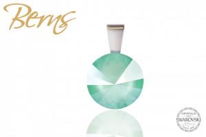Pandantiv, cristal Swarovski, turcoaz, diametru 12 mm