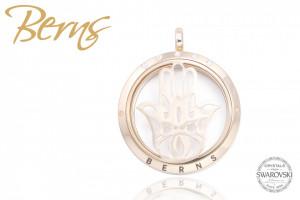 Pandativ aromaterapie, cristale Swarovski, model fatima, auriu, suflat cu aur 14k