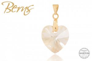 Pandativ, cristale Swarovski, forma inima, gold, 14mm