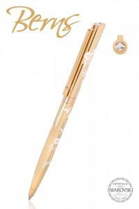 Pix Swarovski, auriu, model floare, diametru 10 mm