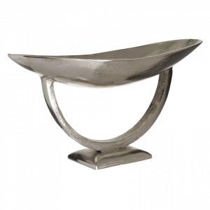 Platou metalic cu picior, argintiu, 51x16x22 cm