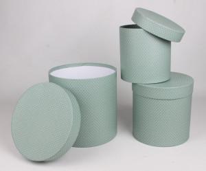 Set 3 cutii carton, cilindru, verde, 20 cm