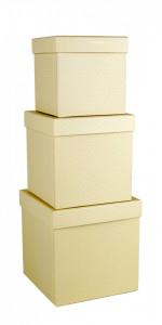 Set 3 cutii patrate, vanilie cu buline, 16x16 cm