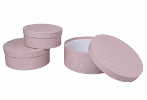 Set 3 cutii rotunde, roz cu buline, 8x20 cm