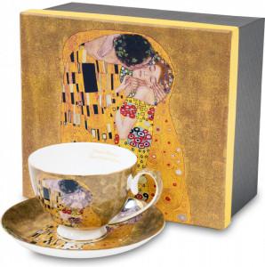 Set cana + farfurie portelan, auriu, Gustav Klimt