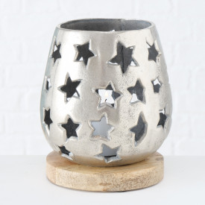 Suport lumanare metalic, baza mango, Vernia, 19 cm