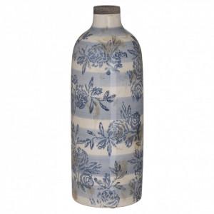 Vaza ceramica aspect antichizat, alb/albastru, 11.5x31.5 cm