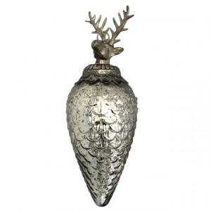 Decoratiune sticla de agatat, cu varf metalic ren, argintiu, 34 cm