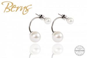 Cercei, 2 perle Swarovski, alb/argintiu, marime M