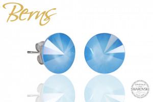 Cercei, cristale Swarovski, albastru, diametru 12 mm